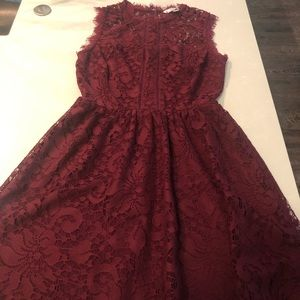 Maroon Lace, High Neck Dress